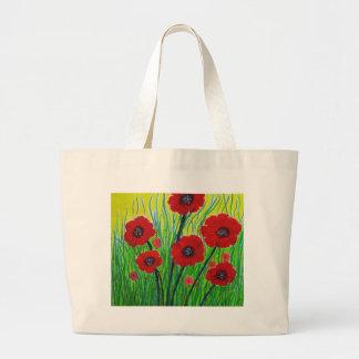 Amapolas rojas bolsa de tela grande
