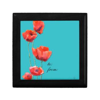 amapolas rojas, caja de regalo, pintura de la acua joyero cuadrado pequeño