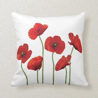 Amapolas rojas almohadas