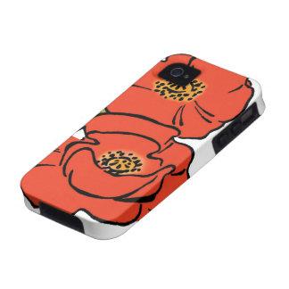 Amapolas rojas de mago de Oz del vintage en iPhone 4/4S Carcasas