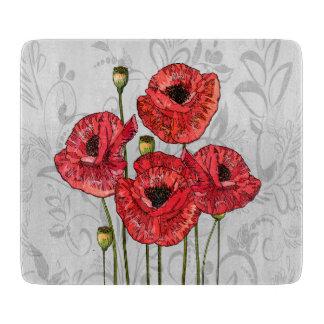 Amapolas rojas en floral gris caprichoso tablas para cortar