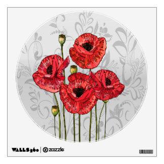 Amapolas rojas en floral gris caprichoso vinilo adhesivo