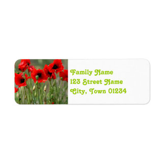 Amapolas rojas etiqueta de remite