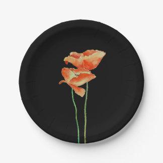 Amapolas rojas florales plato de papel de 7 pulgadas