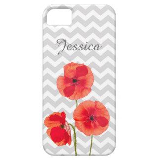 Amapolas rojas florecientes hermosas sobre galón iPhone 5 Case-Mate fundas