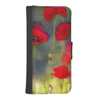 Amapolas rojas carteras para teléfono