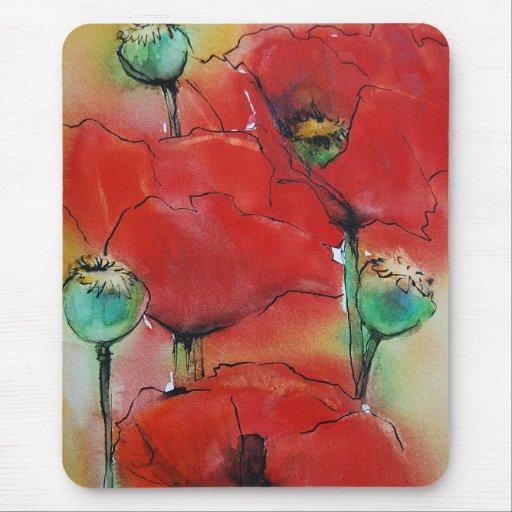 Amapolas rojas mouse pads