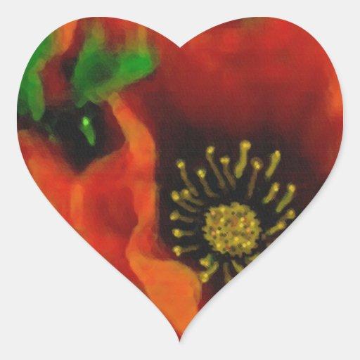 Amapolas rojas pegatina en forma de corazón