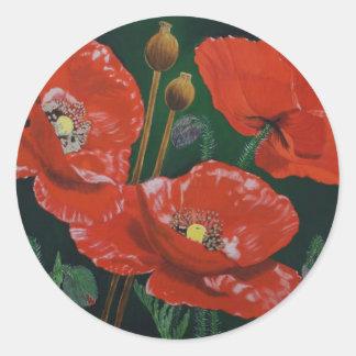 Amapolas rojas pegatina redonda