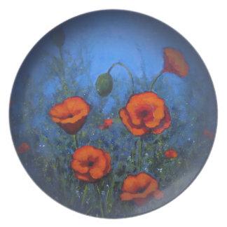 Amapolas rojas, pintura original, impresionismo platos