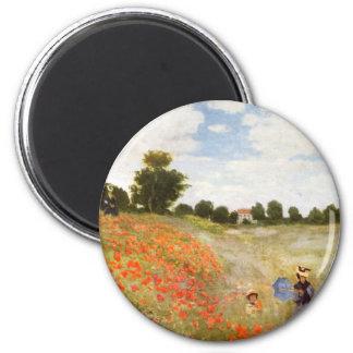 Amapolas rojas que florecen - Claude Monet Imán Redondo 5 Cm