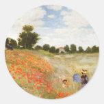 Amapolas rojas que florecen - Claude Monet Pegatina Redonda