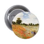 Amapolas rojas que florecen - Claude Monet Pin Redondo 5 Cm