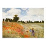 Amapolas rojas que florecen - Claude Monet Tarjetas Postales