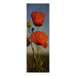 Amapolas rojas, señal plantillas de tarjetas de visita