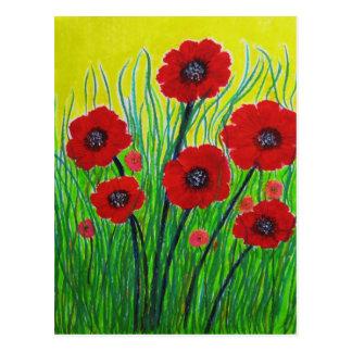 Amapolas rojas tarjeta postal