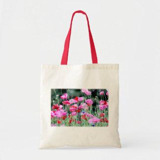 Amapolas rojas y rosadas bolsa tela barata