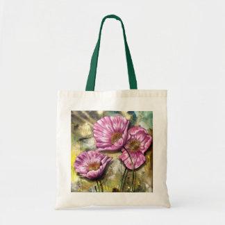 Amapolas rosadas bolsa tela barata