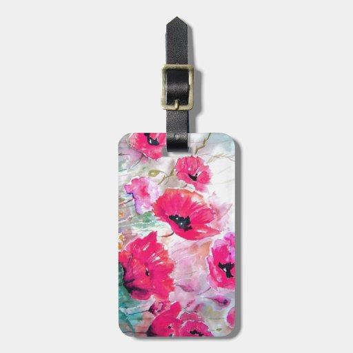 Amapolas rosadas de la acuarela etiquetas para maletas