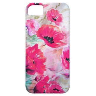 Amapolas rosadas de la acuarela iPhone 5 Case-Mate cárcasas