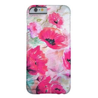 Amapolas rosadas de la acuarela funda de iPhone 6 barely there