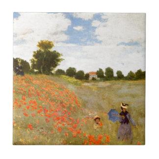 Amapolas salvajes de Claude Monet // Azulejo Cuadrado Pequeño