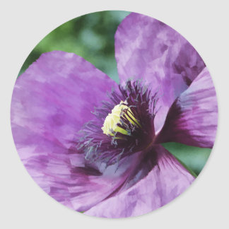 Amapolas violetas/amapolas púrpuras pegatina redonda