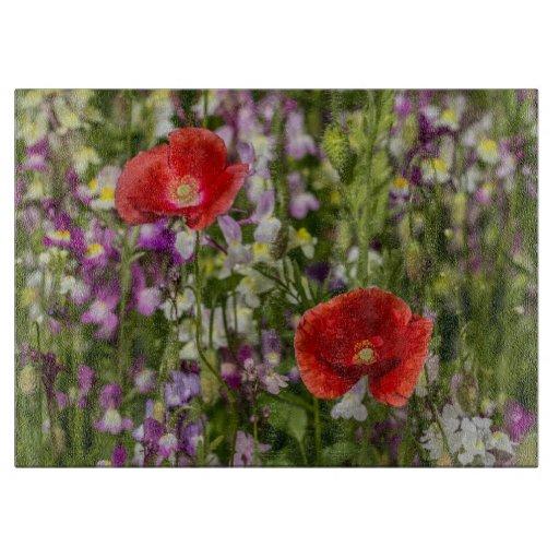Amapolas y flores salvajes tabla para cortar