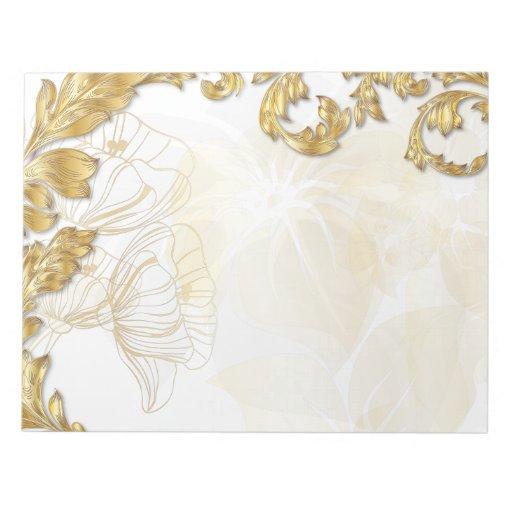 Amapolas y hojas - oro bloc de papel