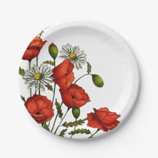 Amapolas y margaritas: Arte floral, flores Plato De Papel De 7 Pulgadas