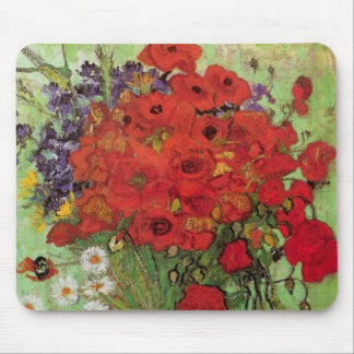 Amapolas y margaritas rojas, flores de Van Gogh de Alfombrillas De Ratones