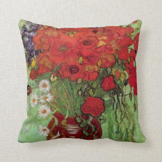 Amapolas y margaritas rojas, flores de Van Gogh de Cojín