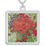 Amapolas y margaritas rojas, flores de Van Gogh de Colgante Cuadrado