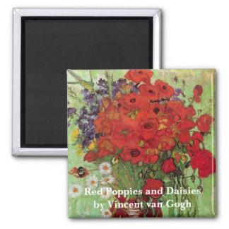 Amapolas y margaritas rojas, flores de Van Gogh de Imán Cuadrado