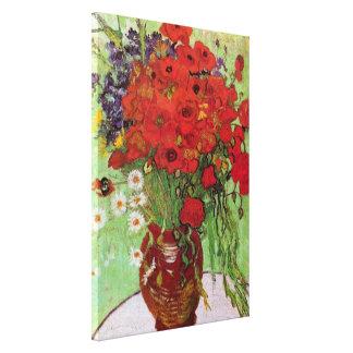 Amapolas y margaritas rojas, flores de Van Gogh de Impresión En Lienzo