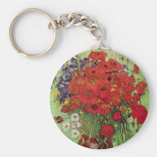 Amapolas y margaritas rojas, flores de Van Gogh de Llavero Redondo Tipo Pin