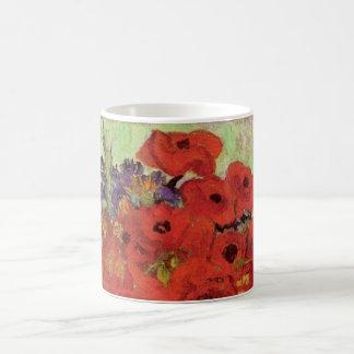 Amapolas y margaritas rojas, flores de Van Gogh de Taza