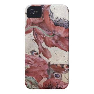 Amapolas y mariposas de Edward Julio Detmold iPhone 4 Case-Mate Funda