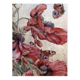 Amapolas y mariposas de Edward Julio Detmold Postal