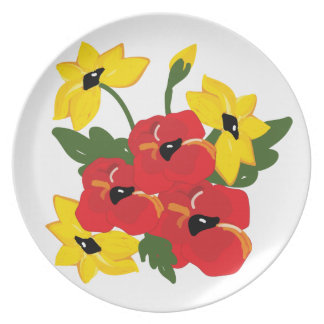 Amapolas y placa de la melamina de las margaritas plato de comida