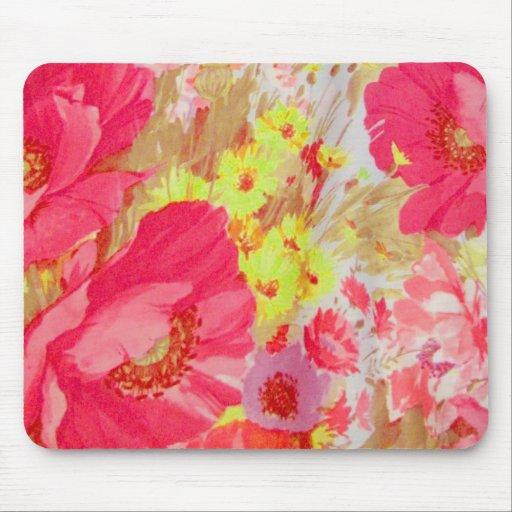 Amapolas y sol. Impresión floral Tapetes De Ratones