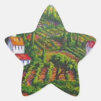 Amapolas y viñedos pegatina en forma de estrella