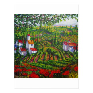Amapolas y viñedos postal