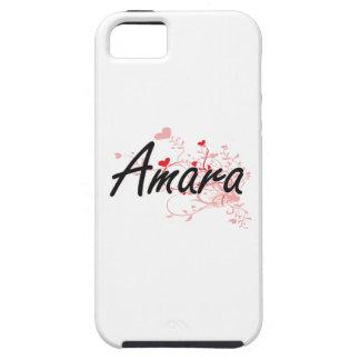 Amara Artistic Name Design with Hearts iPhone 5 Case