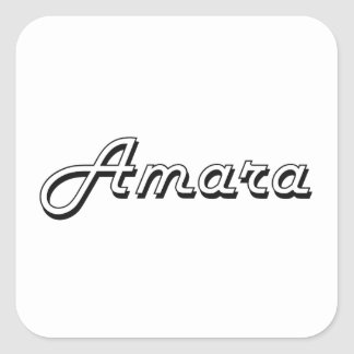 Amara Classic Retro Name Design Square Sticker