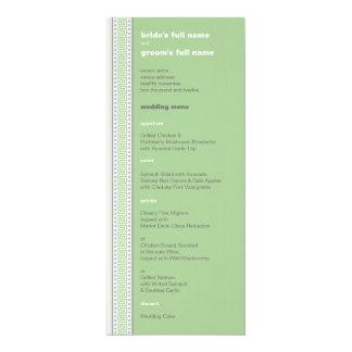 Amara Fret Stripe pistachio Wedding Menu Card
