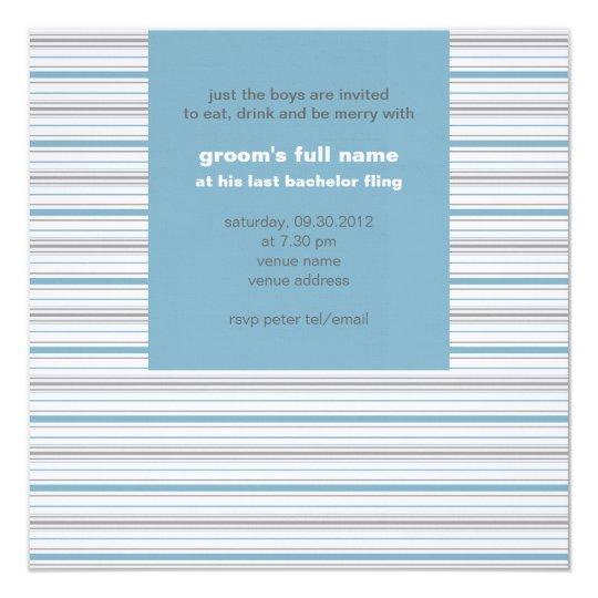 Amara Stripe Cornflower Bachelor Party Card