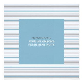 """Amara Stripe Cornflower Retirement Party Invite 5.25"""" Square Invitation Card"""