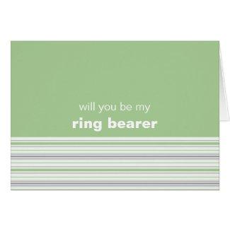 Amara Stripe pistachio Be My Ring Bearer Card card