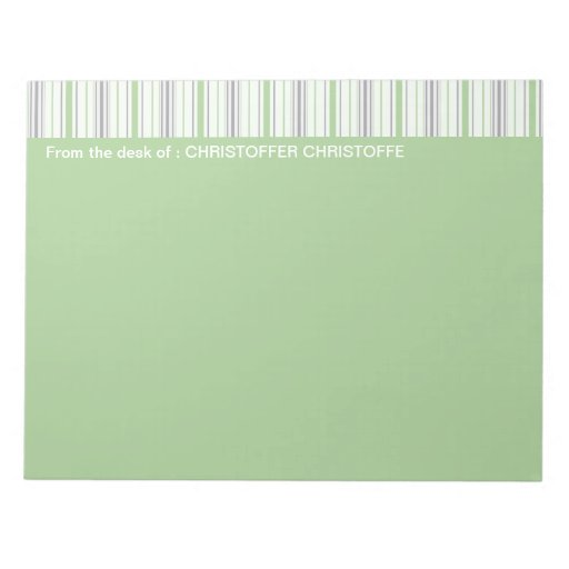Amara Stripe pistachio From The Desk Of Notepad